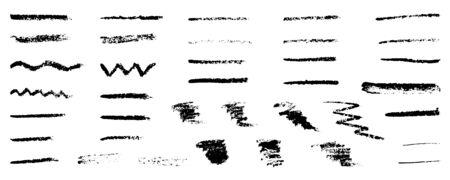 Hand drawn grunge strokes of pencil brushes, set. Vector illustration Ilustração