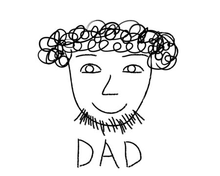 Kids drawing, portrait of father. Vector illustration.