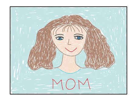 Painted children drawing, portrait of mother. Vector illustration