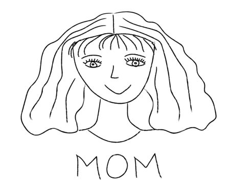 Children drawing, portrait of mother. Vector illustration