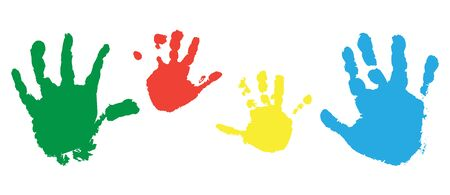 Print of child hands, set of colorful palms of hands. Vector illustration. Illustration