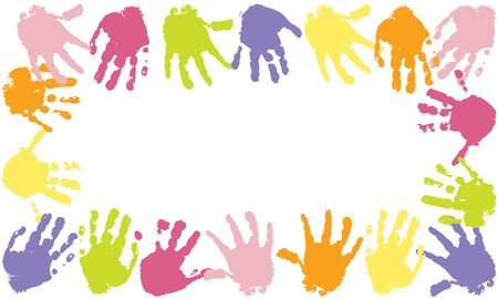 Colorful frame of prints of kids palms of hands, vector illustration.