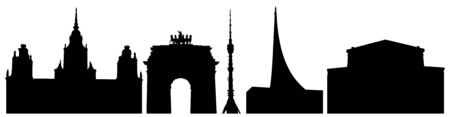Silhouettes of Moscow buildings in Russia, University, Triumphal Gate, Tower in Ostankino, Cosmonautics Museum, Bolshoi Theater, set. Vector illustration Иллюстрация