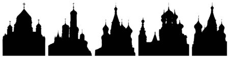 Cathedrals or churches of Moscow in Russia, set of silhouettes. Vector illustration Иллюстрация