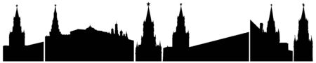 Moscow Kremlin in Russia, silhouettes isolated, set. Vector illustration Иллюстрация