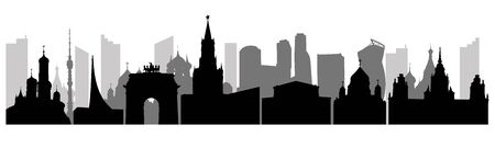 Panorama of Moscow city, silhouettes. Urban famous buildings. Vector illustration.