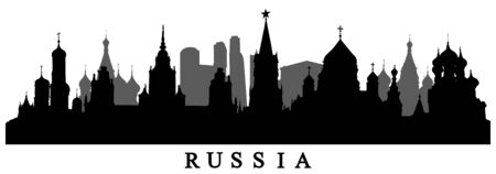 Country Russia, silhouette of buildings. Vector illustration