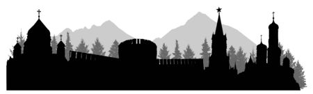 Russia, silhouette of Kremlin palace, fortress, cathedral, forest and mountains. Vector illustration Иллюстрация