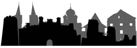 Landmarks of Belarus, silhouettes. Vector illustration  イラスト・ベクター素材