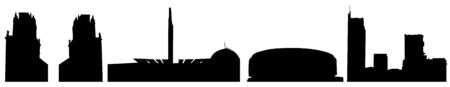 Set of silhouettes of buildings of Minsk in Belarus. Vector illustration