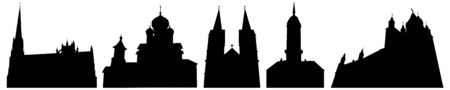 Silhouettes of churches and cathedrals in Belarus, set. Vector illustration.