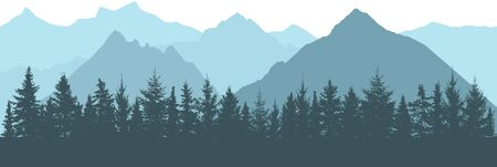 Realistic forest on background of mountains with fog, silhouettes. Vector illustration