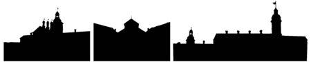 Silhouettes of Nesvizh castle in Belarus, set. Vector illustration Reklamní fotografie - 149350911