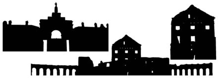 Silhouettes of Ryzhany palace complex of kind of Sapeg in Belarus, set. Vector illustration Reklamní fotografie - 149350916