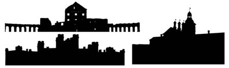 Silhouettes of Nesvizh castle, Kosava castle and Ruzhany palace in Belarus, set. Vector illustration Reklamní fotografie - 149350913