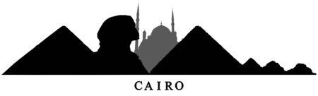 Le Caire, silhouette de pyramides, sphinx et mosquée en Egypte. Illustration vectorielle.