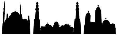 Mosques of Egypt, set of silhouettes. Vector illustration
