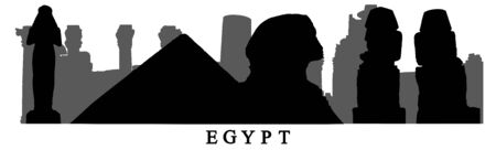 Silhouette of landmarks (Sphinx, statues, ruins and etc.) of Egypt, composition. Vector illustration