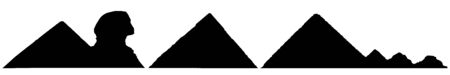 Silhouettes of pyramids and Sphinx, set of landmarks of Egypt. Vector illustration.