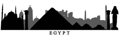 Country Egypt, silhouettes of buildings of Egypt. Vector illustration