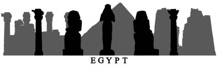 Landmarks of Egypt, silhouettes of statues, pyramids, columns, ruins and etc. Vector illustration. Reklamní fotografie - 150324147