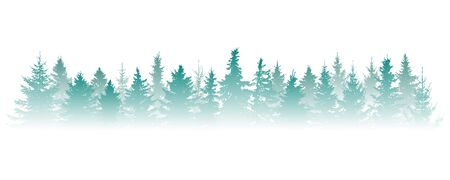 Silhouette of fog forest, panorama. Isolated Christmas tree (fir) in misty forest on white background. Vector illustration