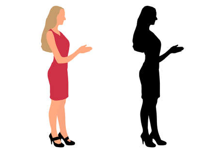 Color and black silhouette of businesswoman held out her hand for handshake. Vector illustration