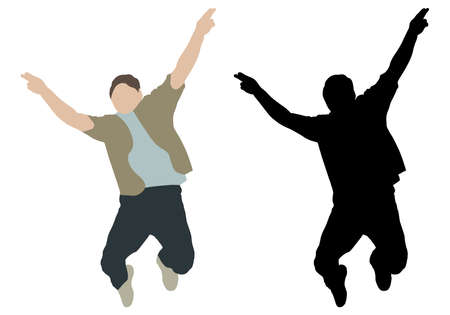 Happy jumping man with hands up, color and black silhouette. Vector illustration