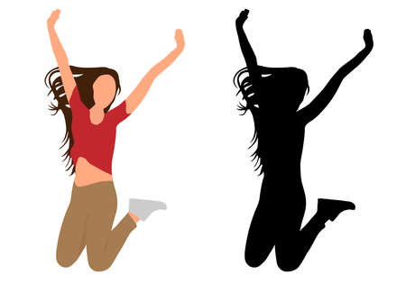 Jumping woman rejoices in victory, colorful and black silhouette. Vector illustration Иллюстрация
