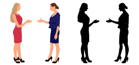 Two businesswomen make agreement, color and black silhouette. Vector illustration Иллюстрация