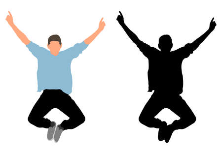 Happy jumping man, colorful and black silhouette. Vector illustration Reklamní fotografie - 151980951