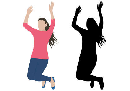 Jumping girl is fan of concerts, sports games, etc. Color and black silhouette. Vector illustration.
