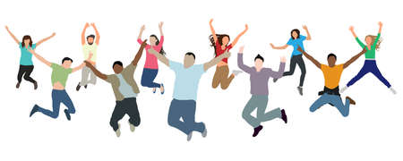 Cheerful jumping group of people. Joy of victory, success, and reaching new heights, and etc. Vector illustration