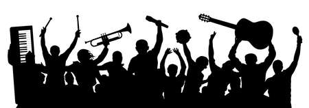 Group of cheerful musicians. Crowd of people raised their hands up. People are holding musical instruments above their heads. Silhouette vector Ilustración de vector