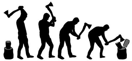 Man is chopping wood. Man with ax in his hands cuts tree. Silhouette vector Vettoriali