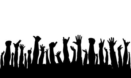 Raised hands of crowd of people, silhouettes. Vector illustration Vecteurs