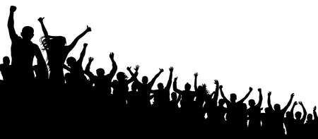 Fan happy people. Party disco concert sport. Cheerful crowd of people cheering applause. Silhouette vector
