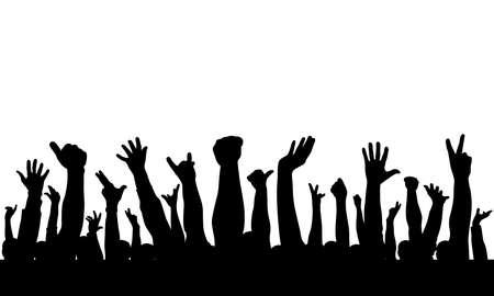 Crowd. Silhouette of raised hands of people. Vector illustration Vector Illustratie