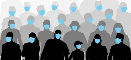 Crowd of people wearing medical masks. Protection against pandemic epidemic infection of coronavirus (COVID-19). Silhouettes. Applied clipping mask. Vector illustration Illustration