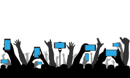 Hands holding phones, smartphones on background of raised human hands. Silhouette of cheerful crowd of people at concert or sport event and etc. Vector illustration