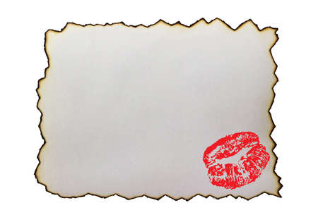 Burnt paper with kiss (imprint of red lipstick), isolated. Love letter or message.