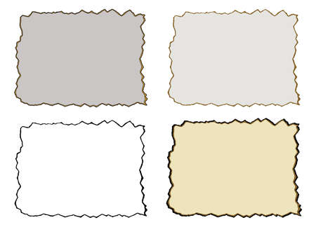 Burnt paper, isolated set. Vector illustration