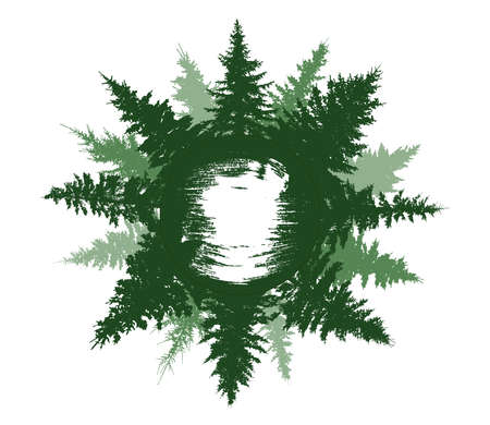 Summer forest on circle, beautiful green spruce trees. Silhouettes of forest. Inside the circle is brush stroke for name. Vector illustration Illustration