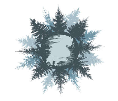 Spruce trees on circle, round forest. Inside the circle is brush stroke for name. Silhouette of winter trees. Vector illustration