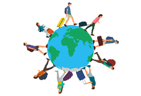 People (tourists) with suitcases, bags and things walking on planet Earth. Group of people going on circle. Vector illustration
