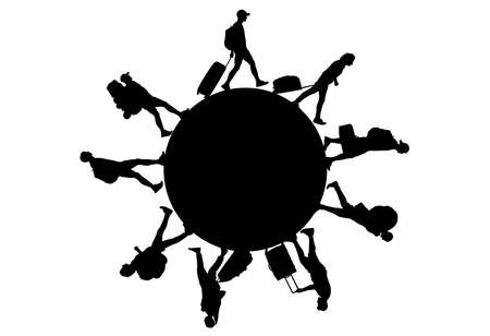 Black silhouettes of people with luggage around circle (planet). Tourists walking on circle. Vector illustration.