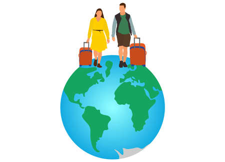 Tourists with suitcases travel on world. Vector illustration.