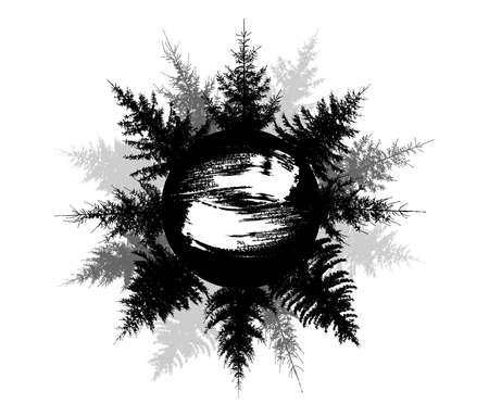 Black silhouette forest on circle, beautiful spruce trees. Inside the circle is brush stroke for name. Vector illustration Illustration