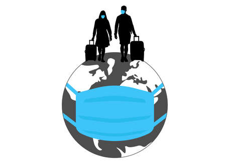 Silhouettes of man and woman in medical masks and with suitcases walking on world. Travel of people during coronavirus pandemic. Vector illustration Illustration