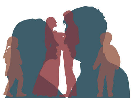 Silhouette of profile of man and woman, which looking each other and silhouette of the couple in full growth and silhouette of their children. Abstraction of relation. Vector illustration